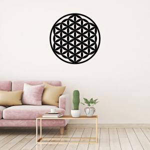 Symbol kvetu života vyrobený z dreva ako dekorácia do interiéru