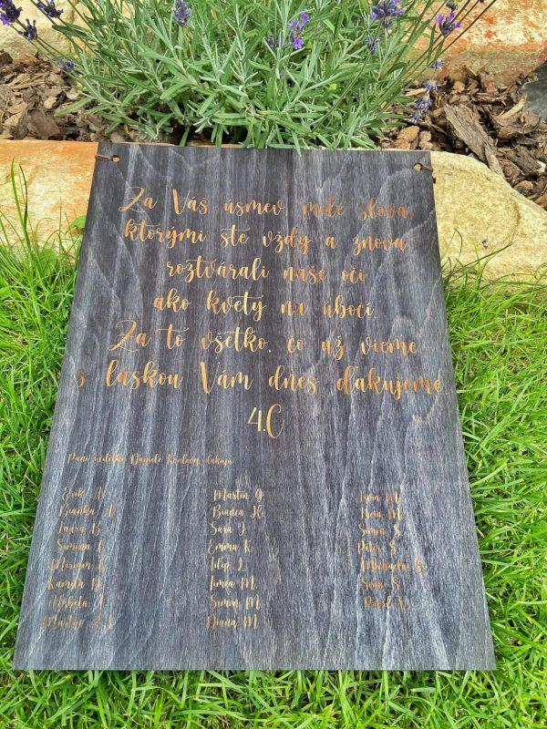 Ďakovná drevená tabuľka pre učiteľov